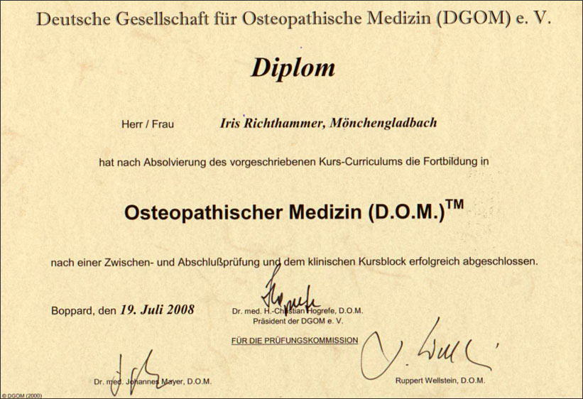 abschluss doctor of osteopathy es